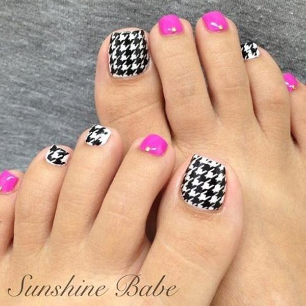 A Quirky Looking Checkered Inspired Toenail Art Design Colors On This Are Fuchsia