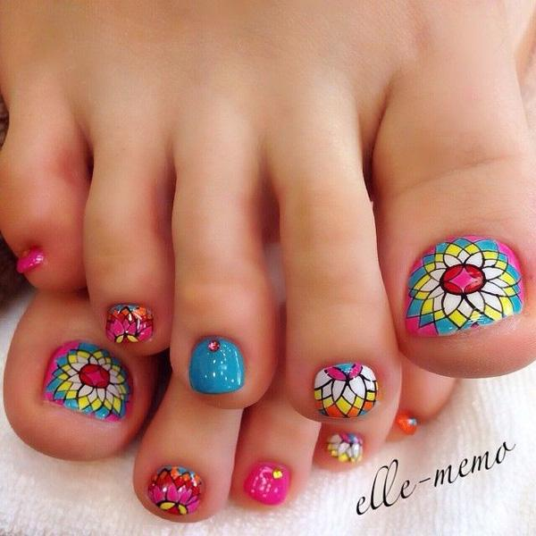 A Mosaic Flower Inspired Toenail Art Similar To Those Designs Of Chapel Windows