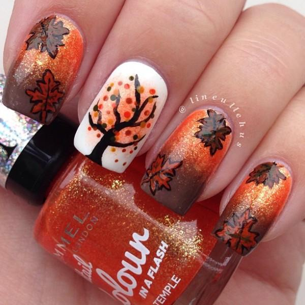 Breathtaking Fall Themed Nail Art Design In Brown Orange White And Black Polish Plus