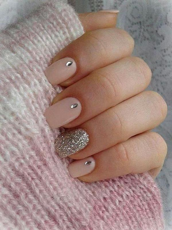 A Simple Yet Beautiful Matte Polish Topped With Silver Be And Sparkles