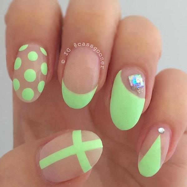 Adorably Cute Neon Green Nail Art In Polka Dot French Tip And Cross Designs Topped