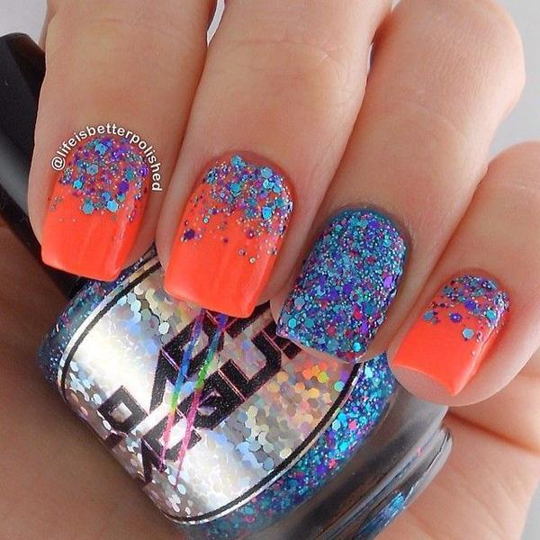 Exciting Half Moon Glitter Nail Art In Blue And Fuchsia Glitters Neon Orange Matte Polish