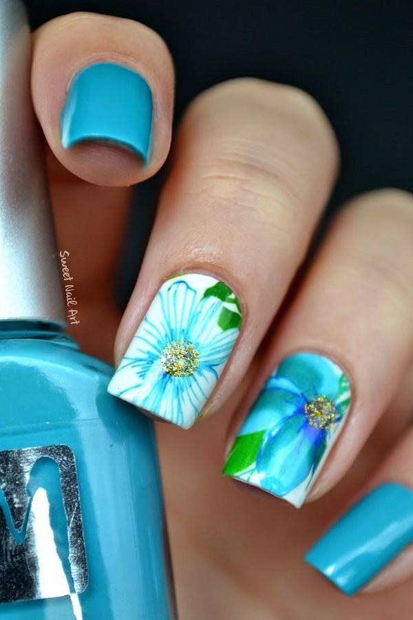 Blue Fl Nail Art Design This Pretty Little Sports A And