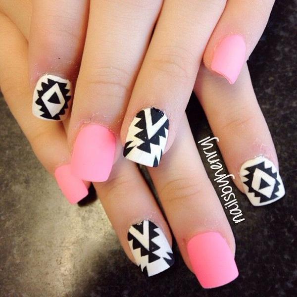 Blue And Black Stripes Design Nail Art