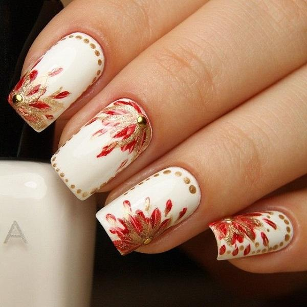 Red Gold And White Inspired Watercolor Nail Art Use The Style In Painting
