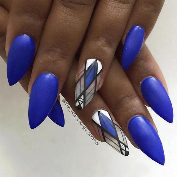 Amazing Looking Matte Blue Nail Art Design This Striking Uses