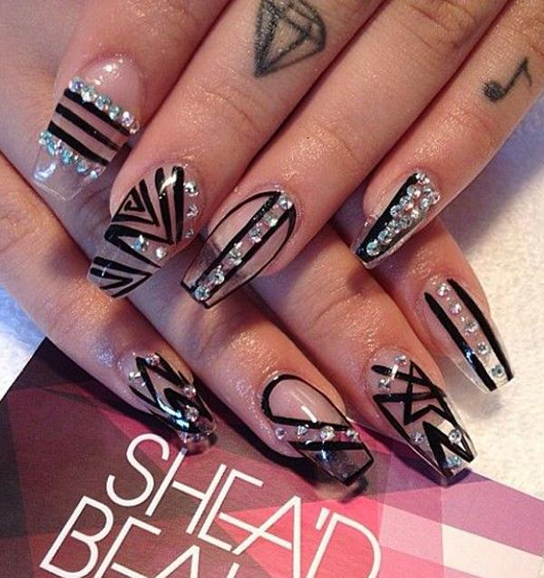Artsy Looking Stick On Nails In Black Tribal Polish Designs The Silver Embellishments Top