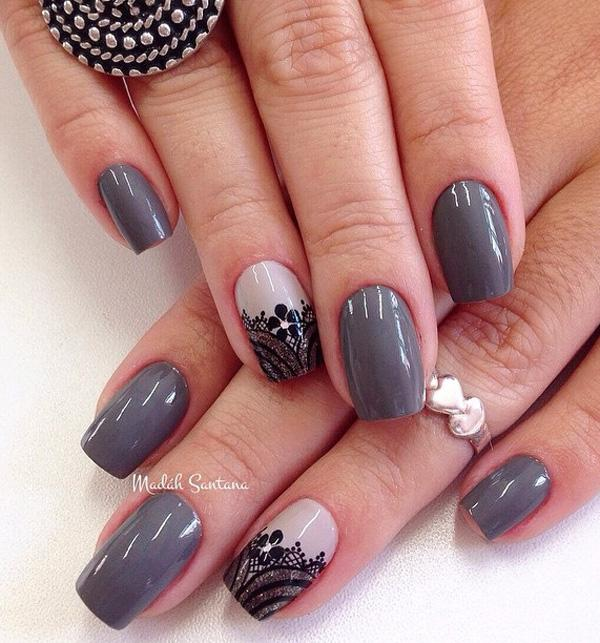 Gray And Black Polish Winter Nail Art Design Give A Wonderful Accent On