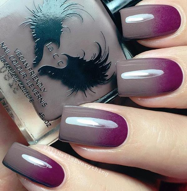 Red Violet And Gray Grant Winter Nail Art Design