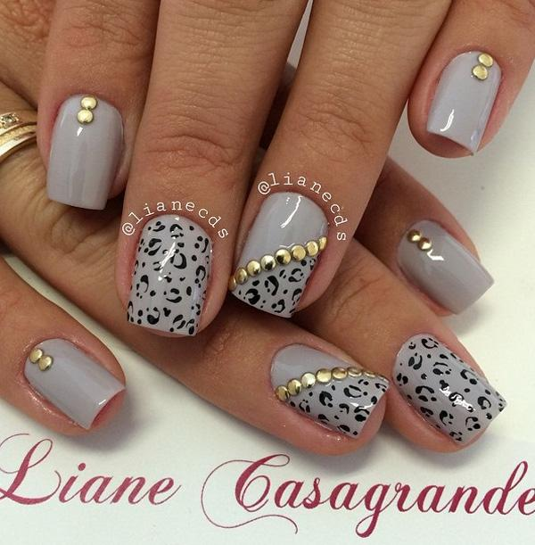 Leopard Print Winter Nail Art Design Paint On Prints Your Gray Polish