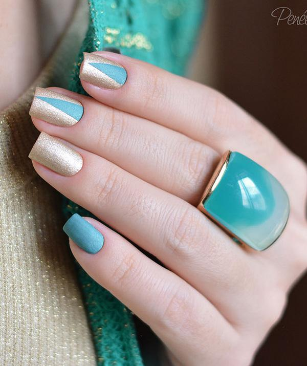 Blue And Gold Winter Nail Art Design Touch On The Sift Side Of With