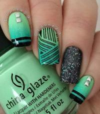 Green And Black Nail Art Designs - Arte de uas : Arte de uas