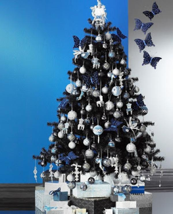 dark and silver butterfly themed christmas tree be mysterious and elegant with this christmas tree
