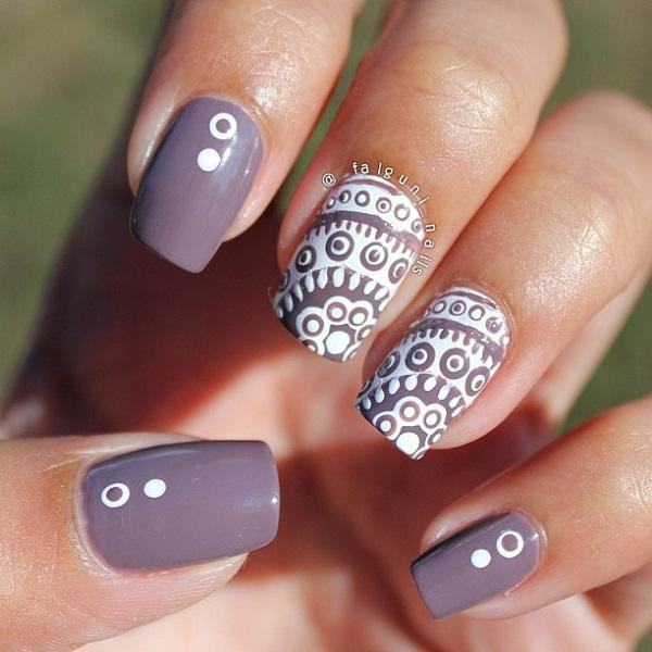 Gray Nail Violet And White Art Design