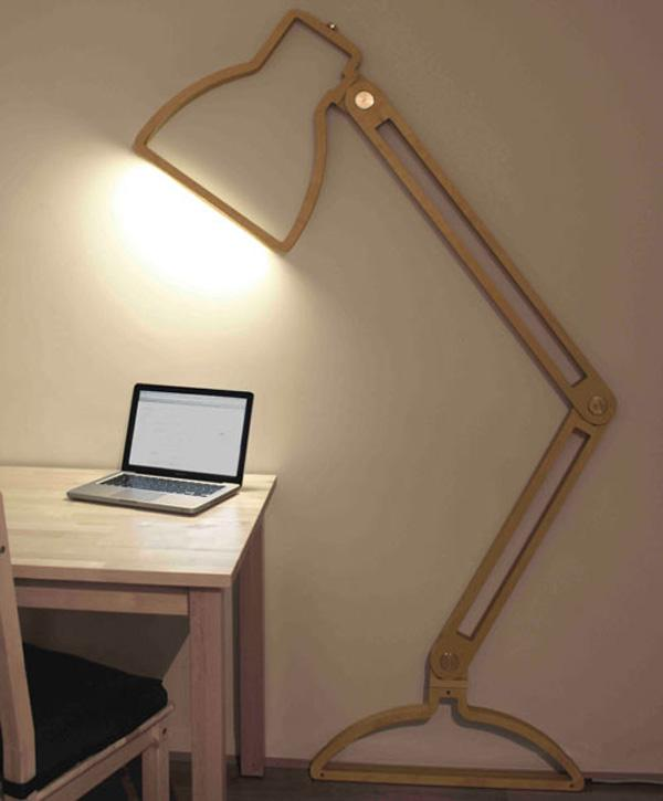 Life size wall lamp. Literally a space saver and gives your desk a good amount of lighting; also very unique and fun to look at.