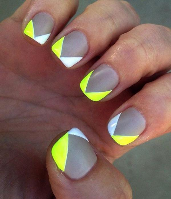 Gray White And Yellow V Shaped Nail Art Design Have Your Nails Don Contrasting