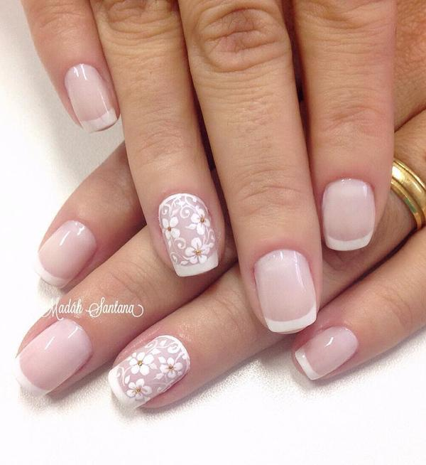 Nail Art With Fl Details And French Tips Bing Your