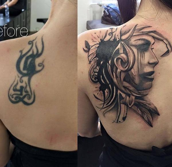 Black And White Rose Tattoo Cover Up