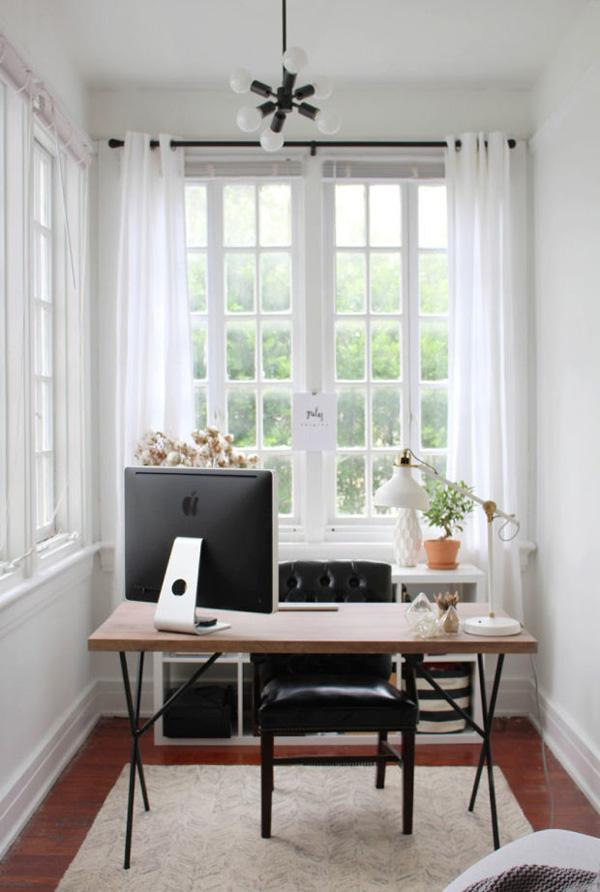 Simplicity is the key. You don't need anything fancy to make your home office much better. Sometimes enough space and light will bring so much improvement.