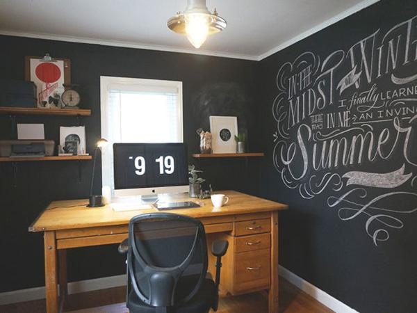 Another chalkboard wall room where you can create your own designs depending on your mood. It would give you some break on the stress of work.