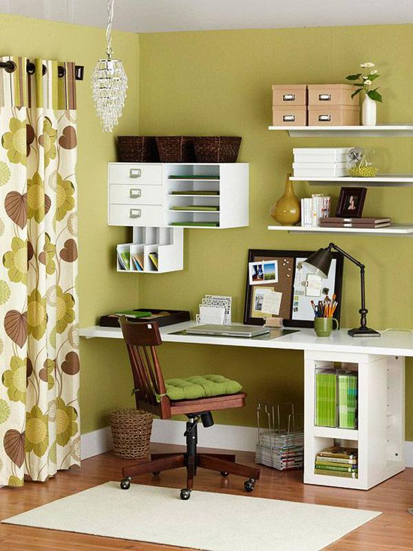 You will never know how organizing stuff would be able to help you become a more productive worker. Wall mounted shelves aren't just for decoration, they can help avoid the clutter in your desk so you will have more space for work. Good home pieces and curtains would then give you the feeling that you really are at home.