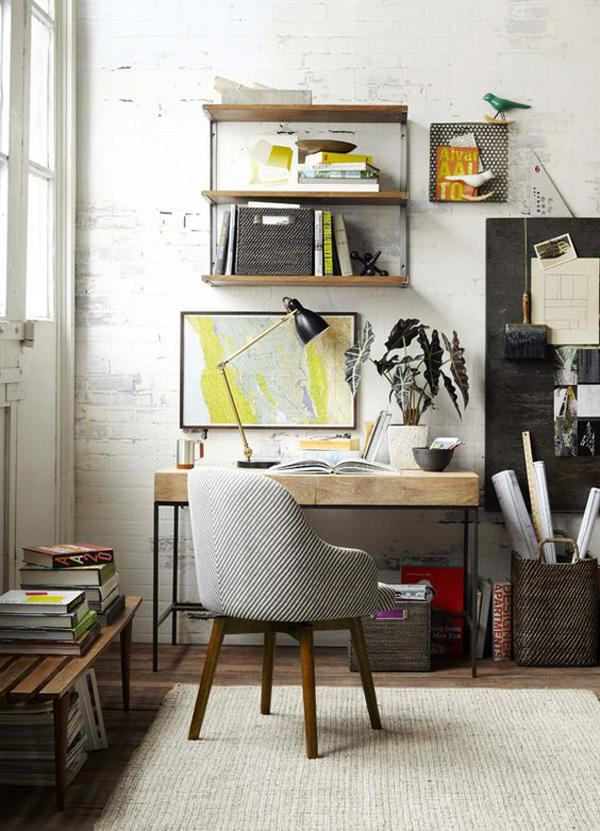 Baskets and wall mounted shelves could greatly help in organizing your stuff. Plus these are great pieces when it comes to interior design. of course don't forget a trendy and yet comfortable chair.