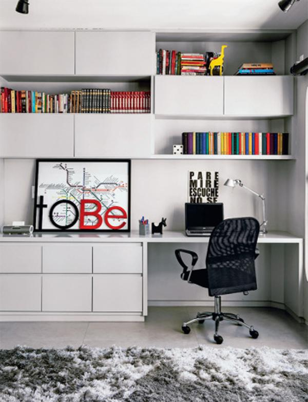 Your all black and white interior isn't really a bad choice especially when you want that subtle, clean and organized look. Your books and other decors could give your room life and color.