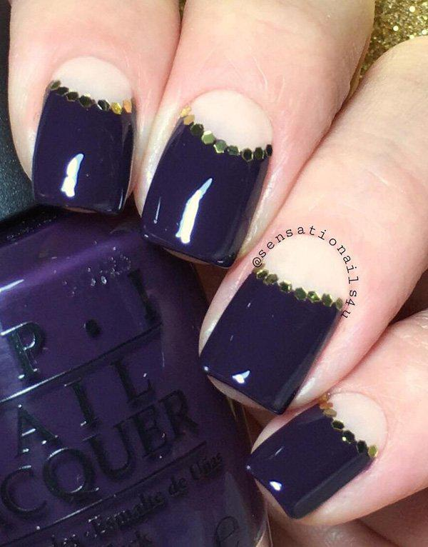 Midnight blue with white Half moon design. This works well with some gold rhinestones in between.
