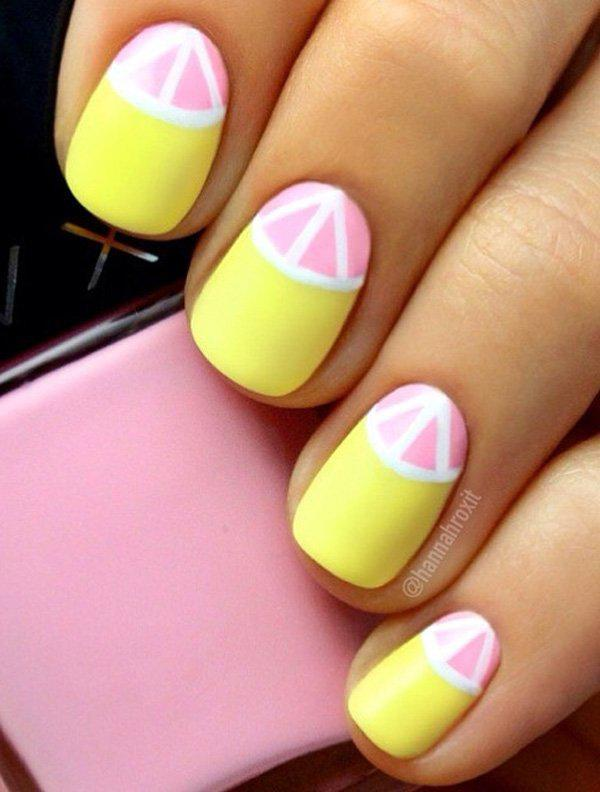 Another Refreshing Half Moon Nail Art Design This Time With Matte Pink And Yellow