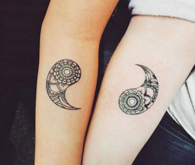 Beautiful Yin And Yang Inspired Couple Tattoos One Part Of The Symbol Is On One