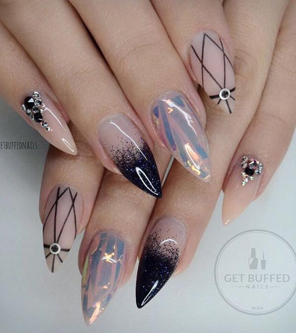 These Nails Remind Me Of The Universe With Dark Blue And Black Rhinestones On Her