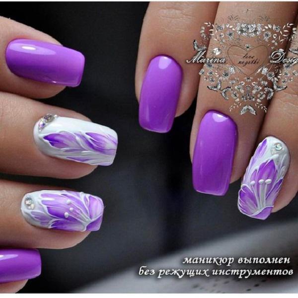 Purple Pink Nail Art Design