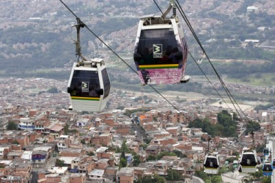 Medellin's cable car system connects the city's poorer neighborhood to the city center.