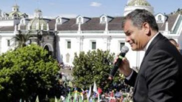 Rafeal Correa speaking Monday at the President Palace in Quito.