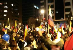 Protesters in Quito on Thursday night.