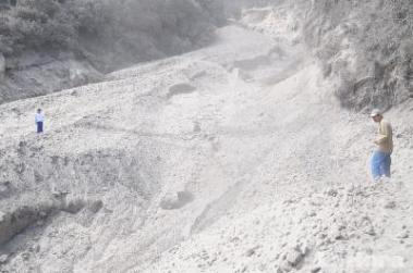 Cuenca's ash fall from the Tungarahua volcano in Feb. 2104 was a light coating. This is what the ash looked like on a highway to Ambato.