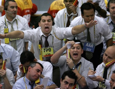 Stock traders at the iBovespa future index pit on Monday.