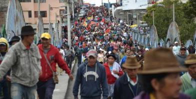Indigenous marchers in Latacunga on Monday.