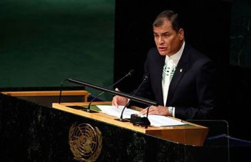 Correa speaking Saturday at the United Nations.