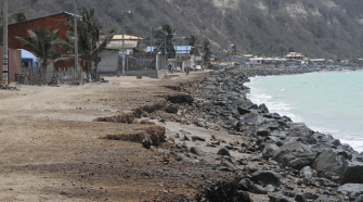 This beach at Jama is badly eroded, putting adjacent houses at risk for the coming El Niño.