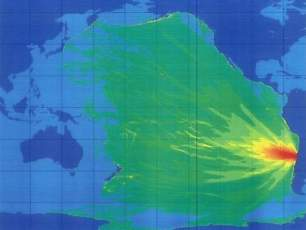 Tsunami map shows the track of high wave action in the Pacific Ocean.