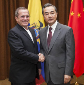 Ecuador's Foreign Minister, Ricardo Patiño, met with his Chinese counterpart Wang Yi, in Beijing. Photo credit: Telesur