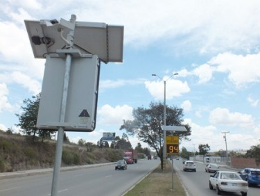 A photo radar installation on the Pan American Highway north of Cuenca.