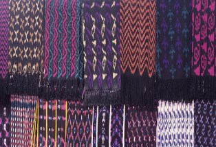 Ikat designs on display at a workshop in Gualaceo,