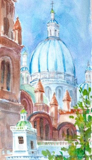 New Cathedral – watercolor by T. Dubreuil