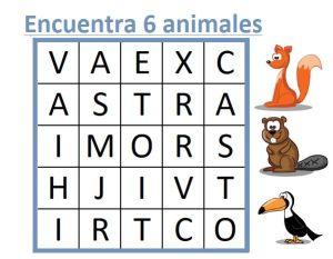 SOPA DE LETRAS DE ANIMALES DIFICILES