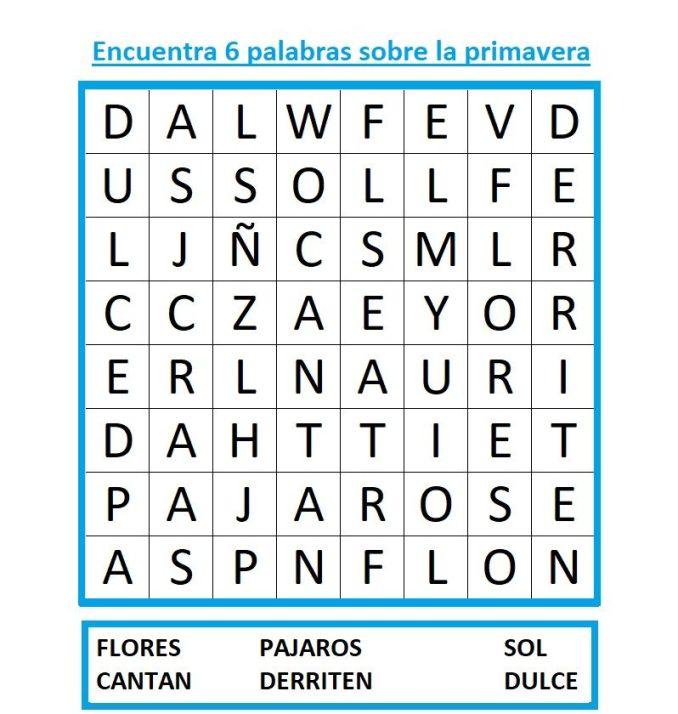 SOPA DE LETRAS PRIMAVERA