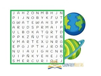 sopa de letras de los planetas para niños