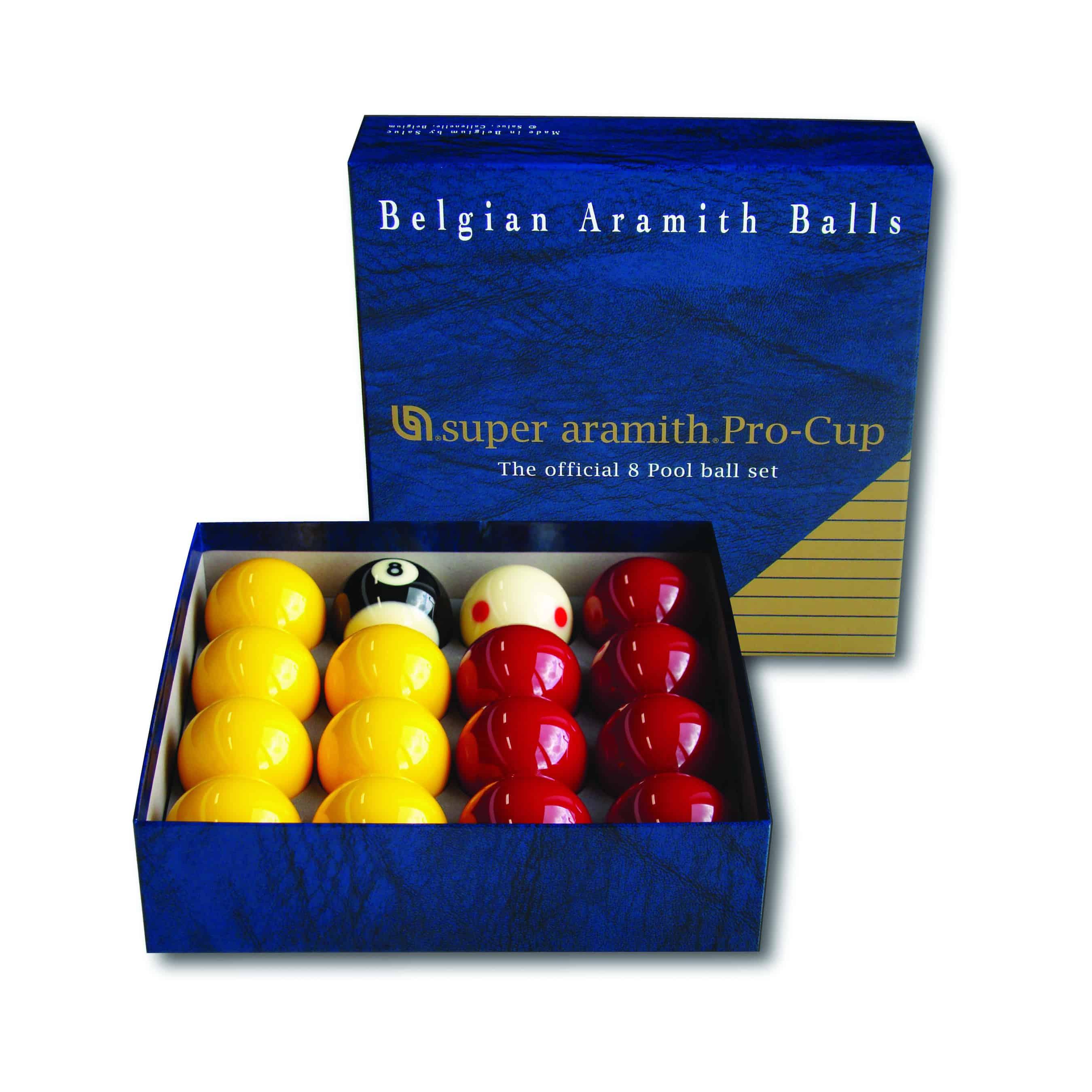 Red and Yellow 1 7//8 Aramith Pool Ball Set