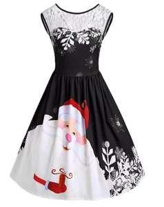 ropa para las fiestas. Vestido negro Papá Noel